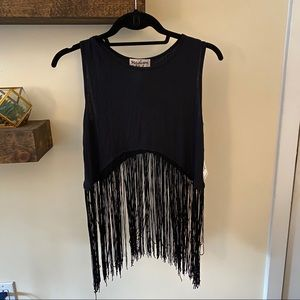 Black fringe crop top NWT